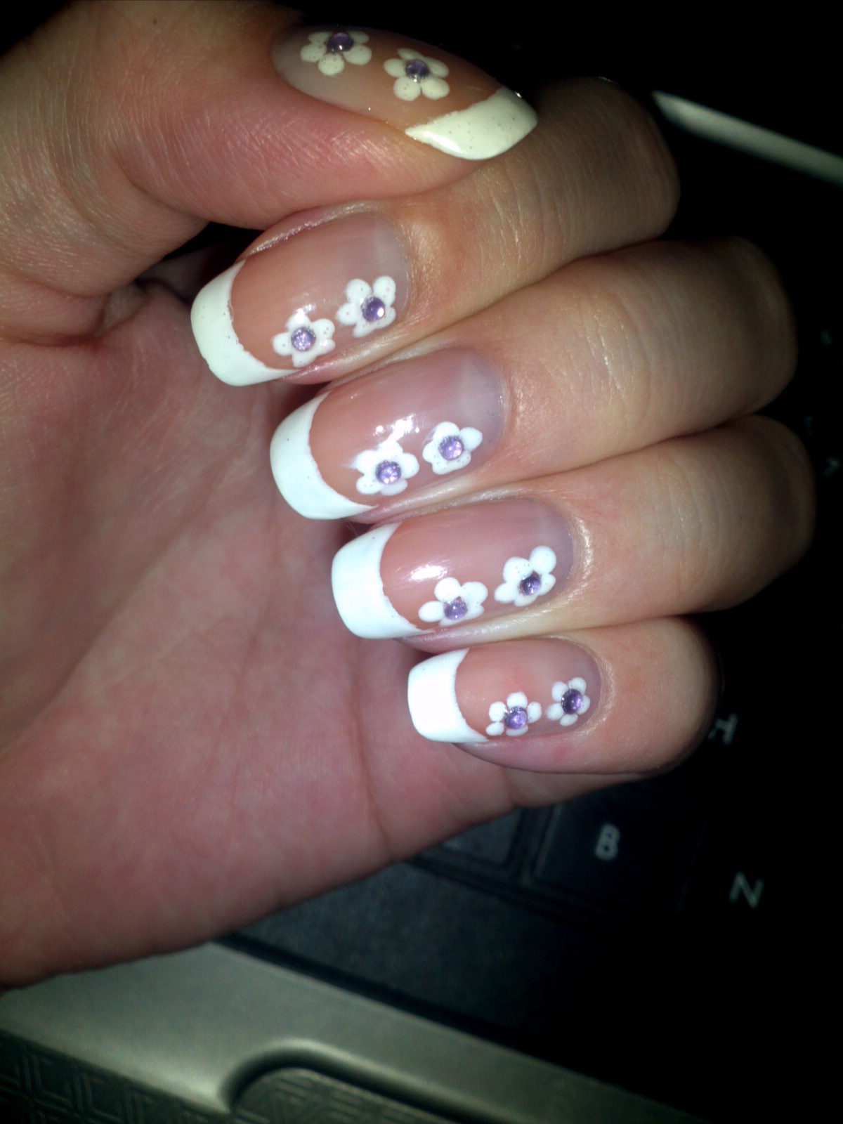 Juicy Nails Nail Art White French Tip With Flowers And Rhinestones