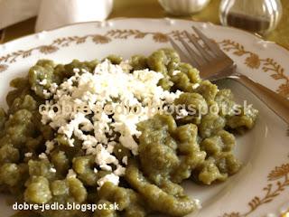 Špenátové halušky s tvarohom - recepty