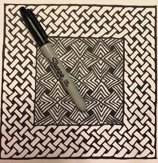 Zentangle Celtic Knot frame meditative drawing Sharpie art