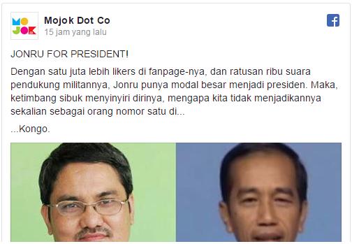 Sindiran kuat biar Jonru bernafsu jadi presiden beneran