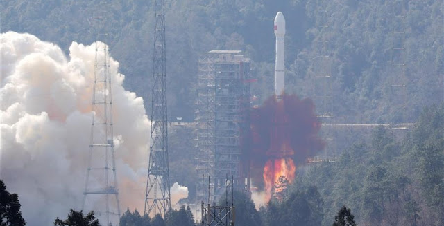Long March 3B launches with two BeiDou-3 satellites on February 12, 2018. Photo Credit: Xinhua/Liang Keyan