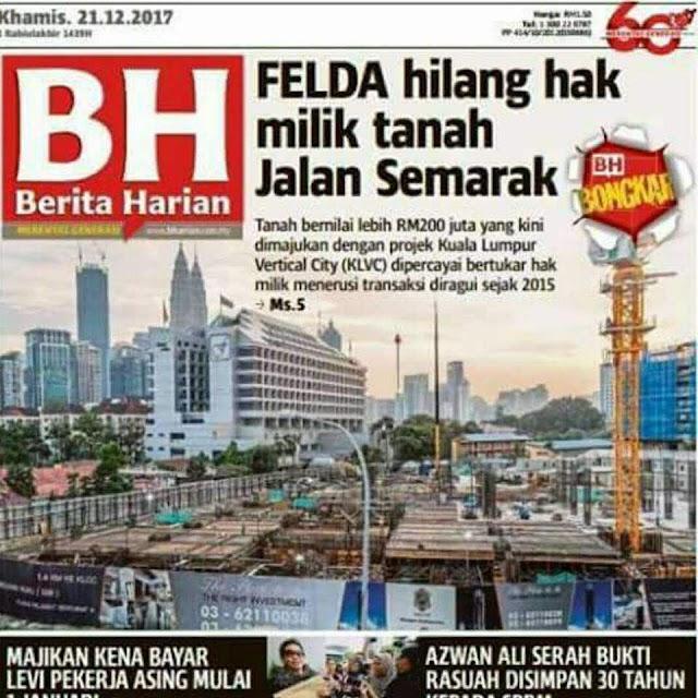 """Kuala Lumpur Vertical City (KLVC) """"FELDA nak balik tanah itu"""" -  Pengerusi FELDA #FeldaDihatiKu #Felda #KLVC"""