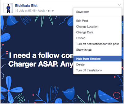 How to hide and unhide a Facebook Post