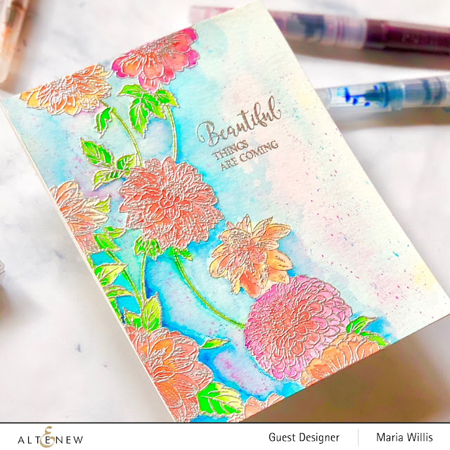 #mariawillis, #cardbomb, #altenew, #watercolorbrushmarkers, #watercolor, #flowers, #cards, #stamp, #ink, #paper, #art, #papercraft, #cardmaker, #color,
