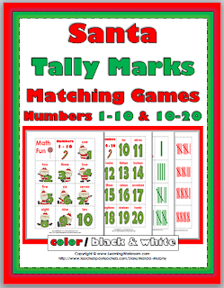 http://www.teacherspayteachers.com/Product/Santa-Tally-Marks-Matching-Games-Numbers-1-10-10-20-957657