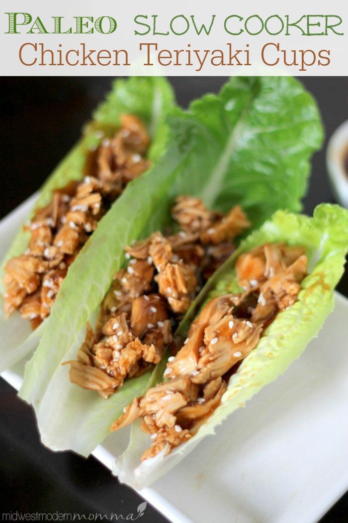 Paleo Slow Cooker Chicken Teriyaki Lettuce Wraps  - My Favorite Paleo Dinners :: OrganizingMadeFun.com