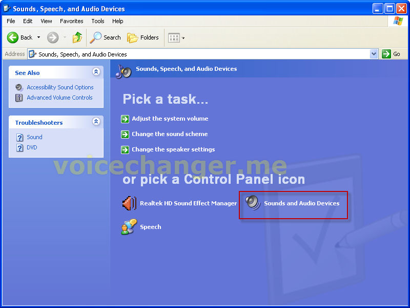 screenshot of voice changer software - setting virtual audio device as default driver for microphone