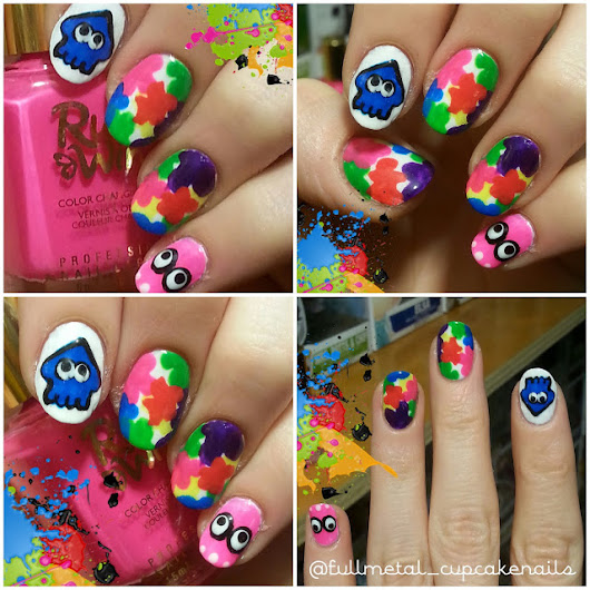 Splatoon nail art - because that's how I roll.