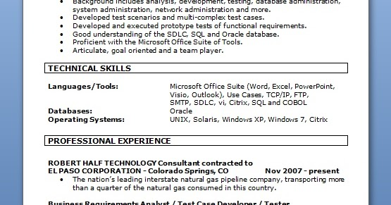 business requirements analyst resume format in word free