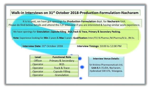 Sri Krishna Pharmaceuticals Ltd Walk In Interview For Multiple Openings - ITI, B.Pharm, M.Pharm, M.Sc, B.Sc, 12th at 31 October