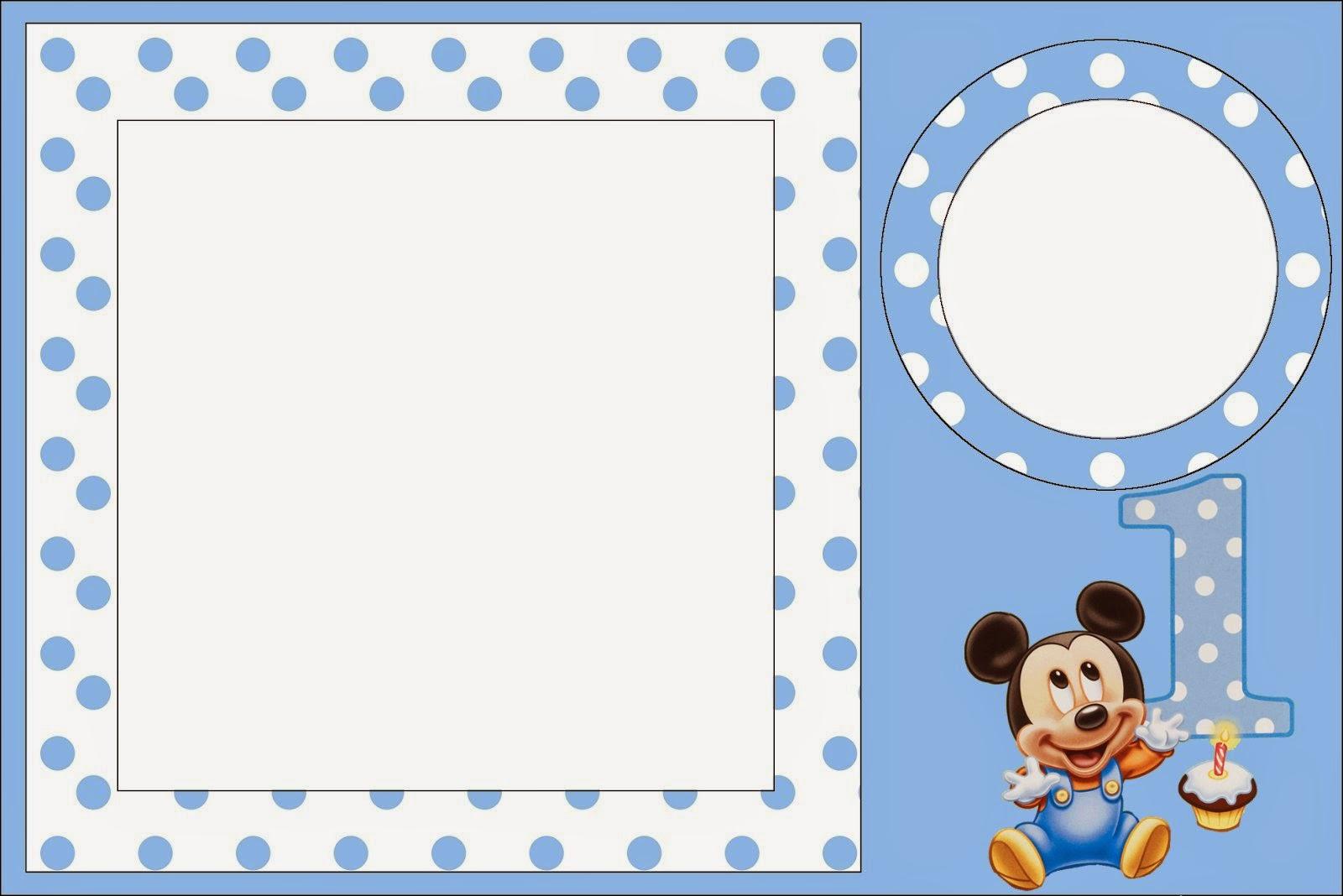 Mickey Primer Año Con Lunares Invitaciones Para Imprimir