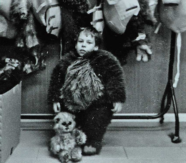 Warwick Davis and his Ewok costume
