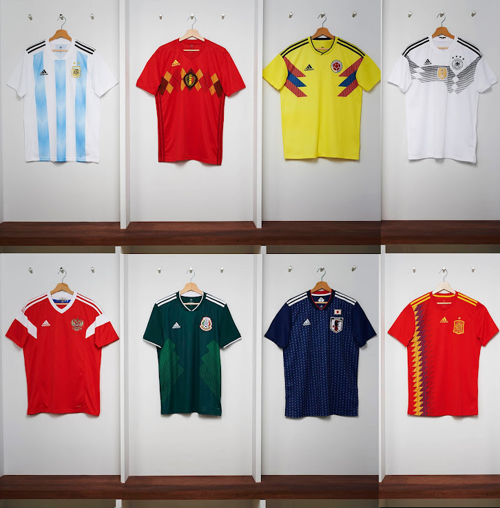 c9976d6eeccfe Adidas Argentina, Belgium, Colombia, Germany, Mexico, Russia & Spain 2018 World  Cup Home Kits Released