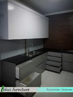 Contoh Kitchen set letter l minimalis tanpa handle