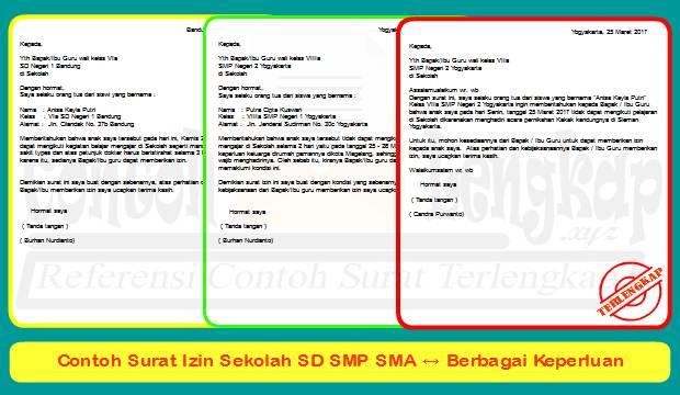 Contoh Surat Izin Sekolah Sd Smp Sma Berbagai Keperluan