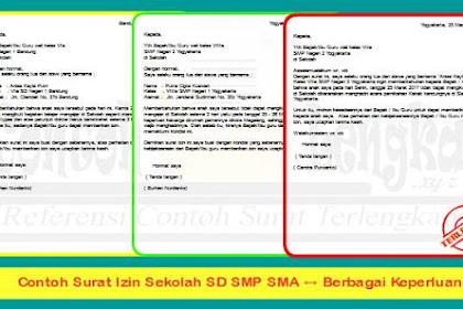 ✔ Contoh Surat Izin Sekolah SD SMP SMA, Berbagai Keperluan !