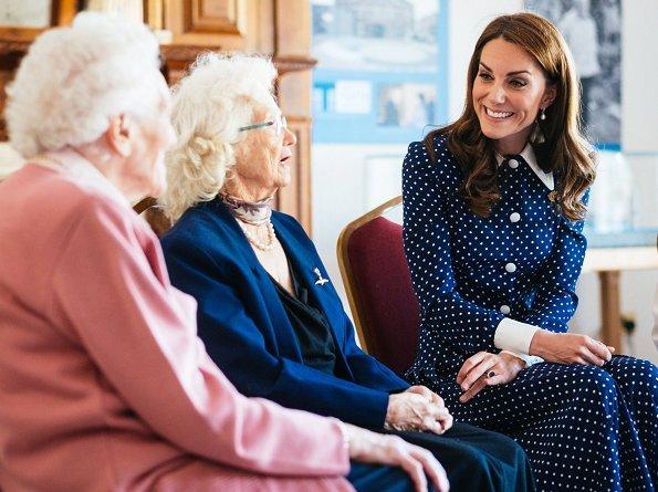 Kate Middleton Alessandra Rich pleated polka dot silk midi dress, Annoushka pearl and Kiki diamond hoop earrings