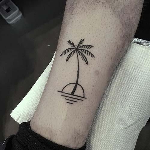 ayak bileği palmiye ağacı dövmesi ankle palm tree tattoo