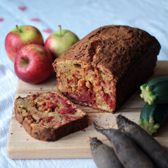 Courgette, apple and beetroot loaf - a close relation to carrot cake, this recipe for a dense and rich cake captures the taste of autumn with seasonal veg and spices