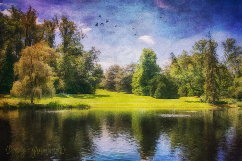 digital painting of pond at Longwood Gardens