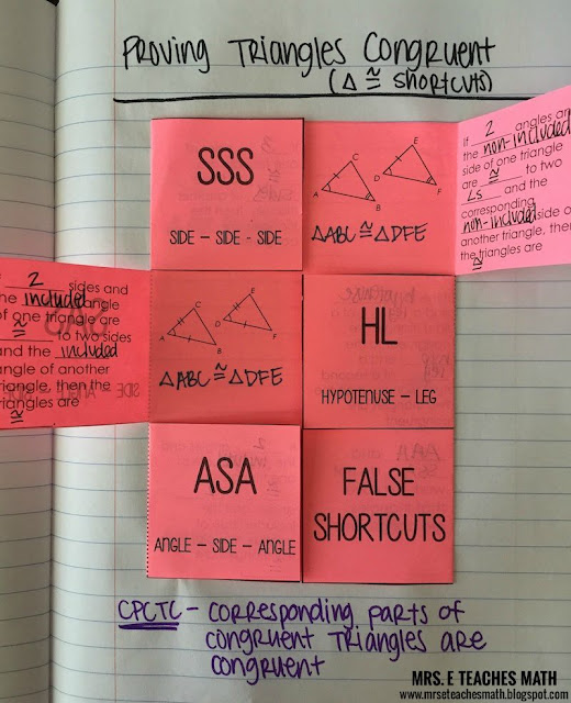 Triangle Congruence Interactive Notebook Page - idea for geometry  |  mrseteachesmath.blogspot.com