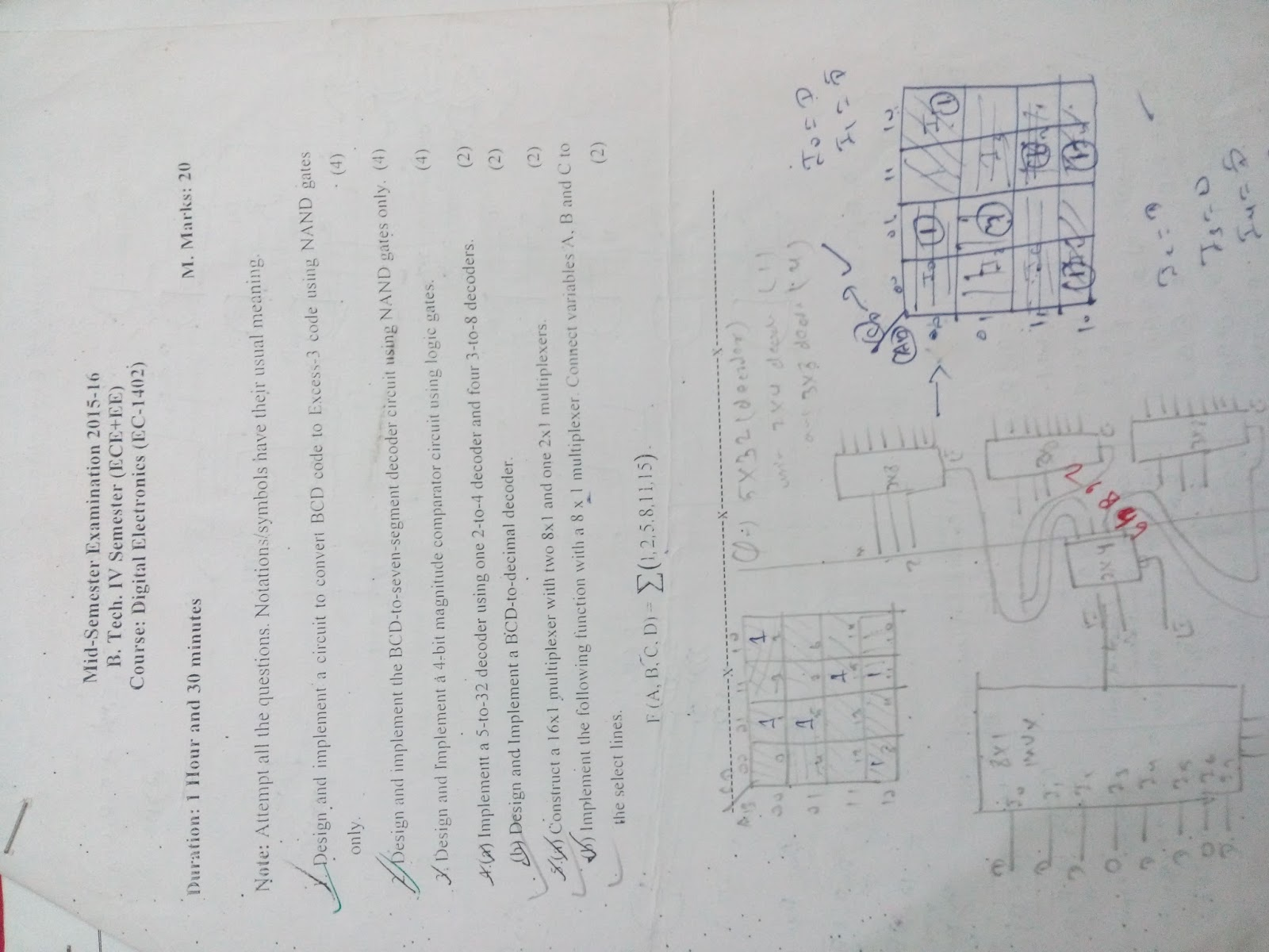 1st Year Sem Papers Digital Electronics 7 Segment Decoder Circuit Diagram