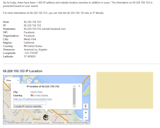 Encontrando Facebookmail con IP Location Finder