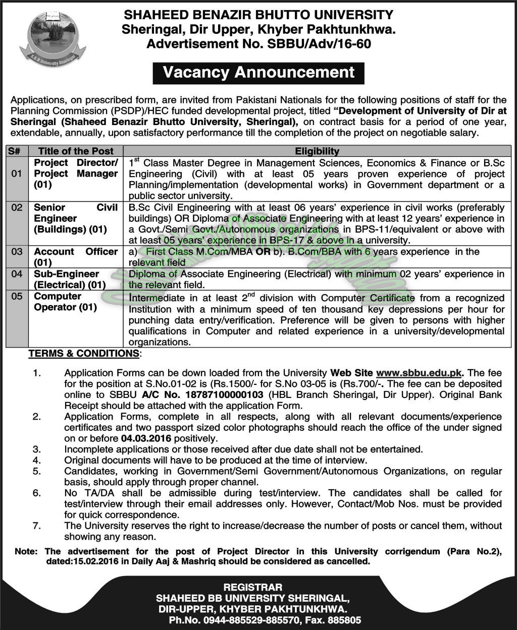 Shaheed Benazir Bhutto University jobs in Peshawar