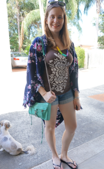 floral kimono with printed graphic ribbed tank denim shorts summer SAHM style | AwayFromBlue