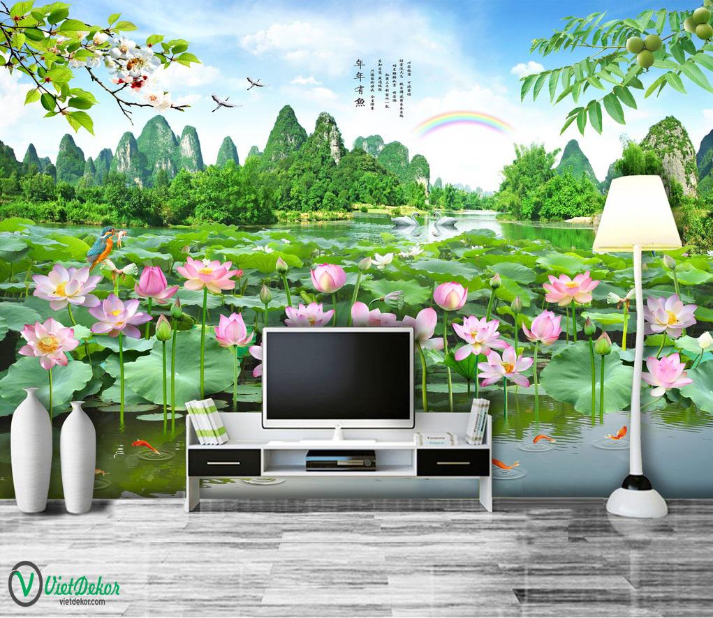 Tranh dán tường 3d phong cảnh thiên nhiên ao sen