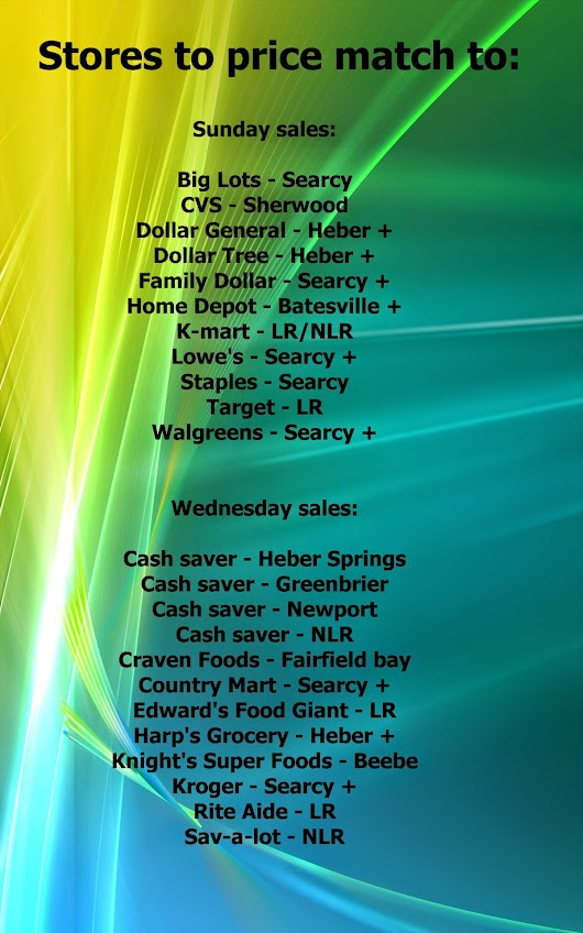 New updated list of stores I price match to: