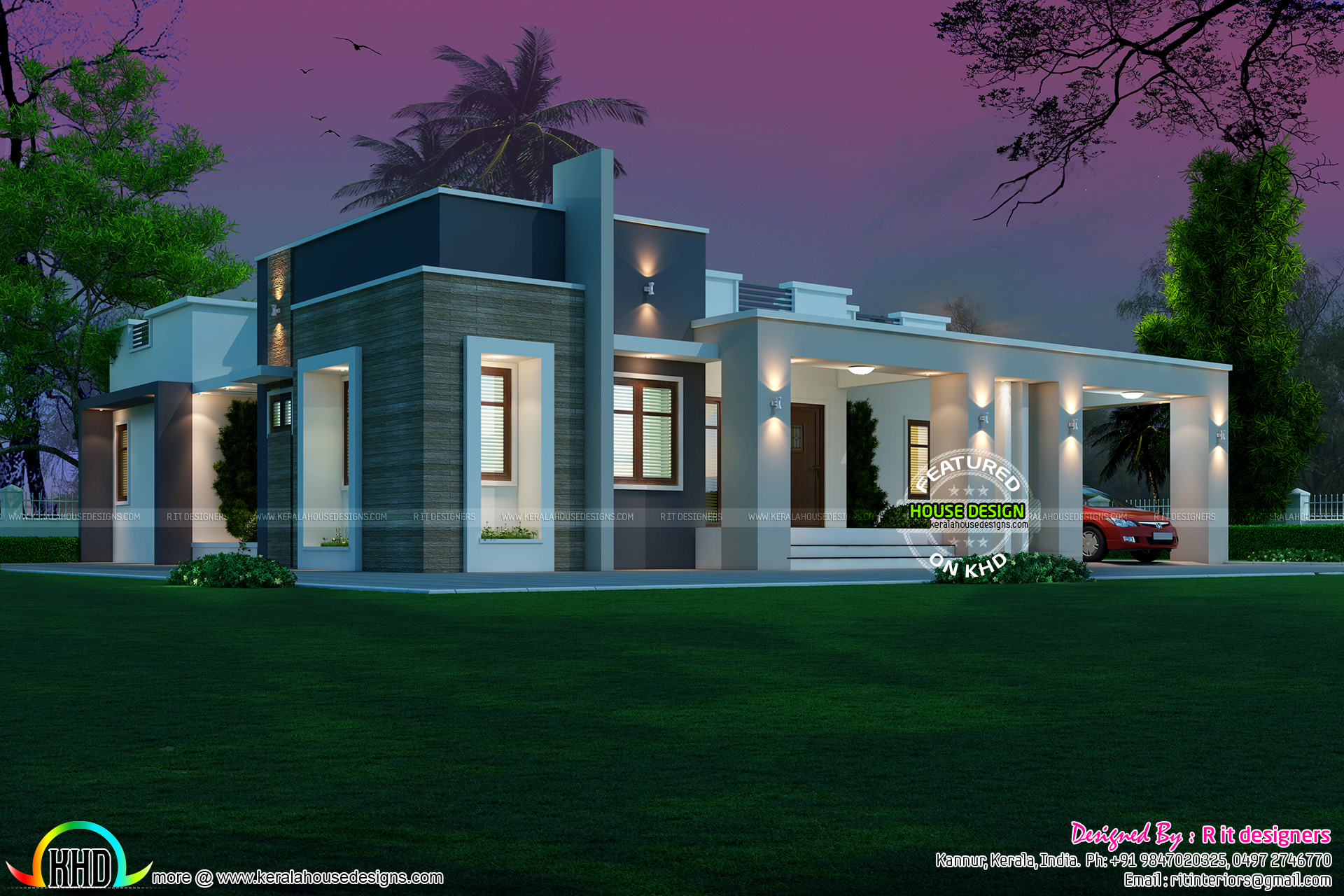 3 bedroom modern single floor 40 laks cost  Kerala home