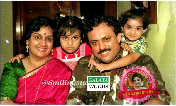 Keerthy Suresh childhood photo with family