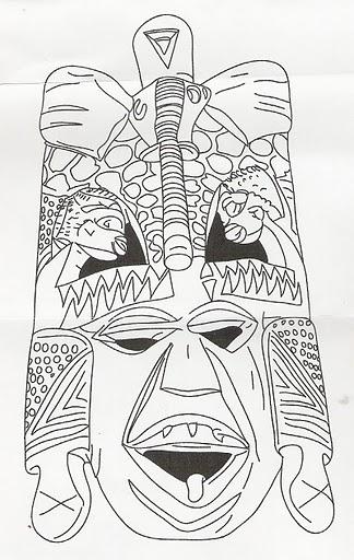 Máscaras Africanas para colorir com a turma! Máscaras Africanas para ...
