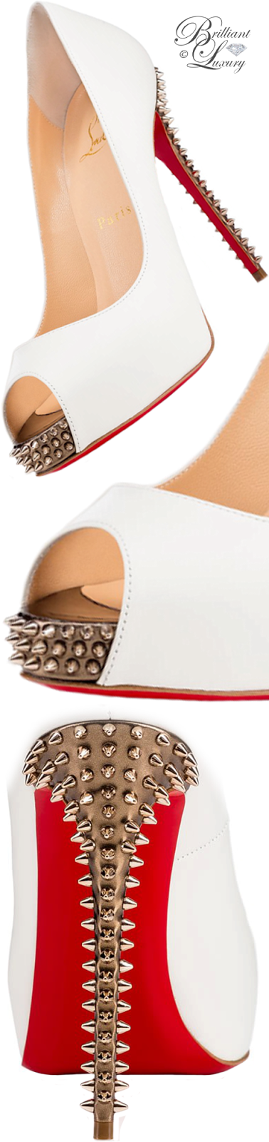 Brilliant Luxury ♦ Christian Louboutin New Very Prive Kid spikes peeptoe pump