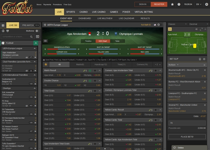 Fetbet Live Betting Screen