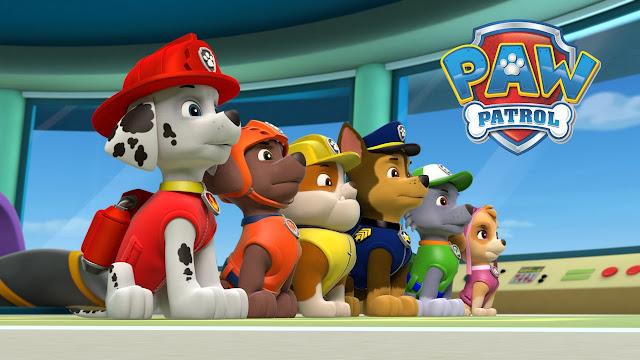 Los perros de la serie de animación canadiense de nickjr La Patrulla Canina en formación preparados para una misión de salvamento