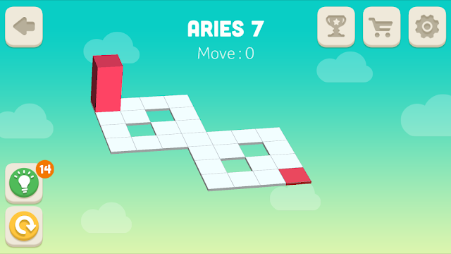 Bloxorz Aries Level 7 step by step 3 stars Walkthrough, Cheats, Solution for android, iphone, ipad and ipod