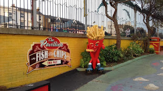 The 'Chip shop mascot man who is eating himself' at Southend's Adventure Island Theme Park