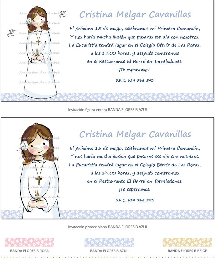 Invitacion primera comunion personalizada estilo original niña