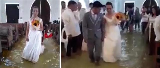 Η πλημμύρα δεν τους εμπόδισε να παντρευτούν (βίντεο)