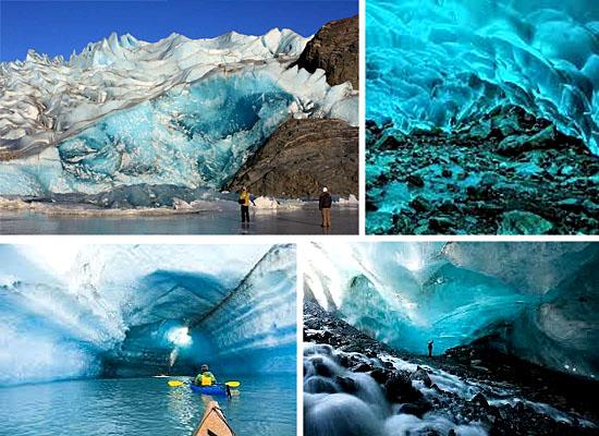 Cavernas mais lindas perigosas - Glaciar Mendenhall - EUA