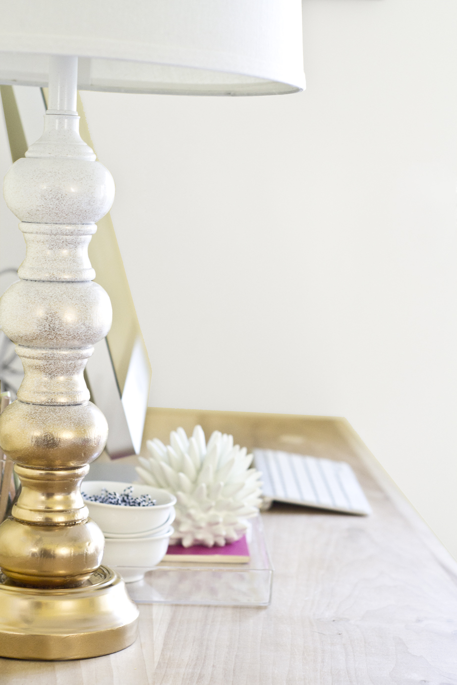 Gold and White Ombre Thrifted Lamp - Infarrantly Creative