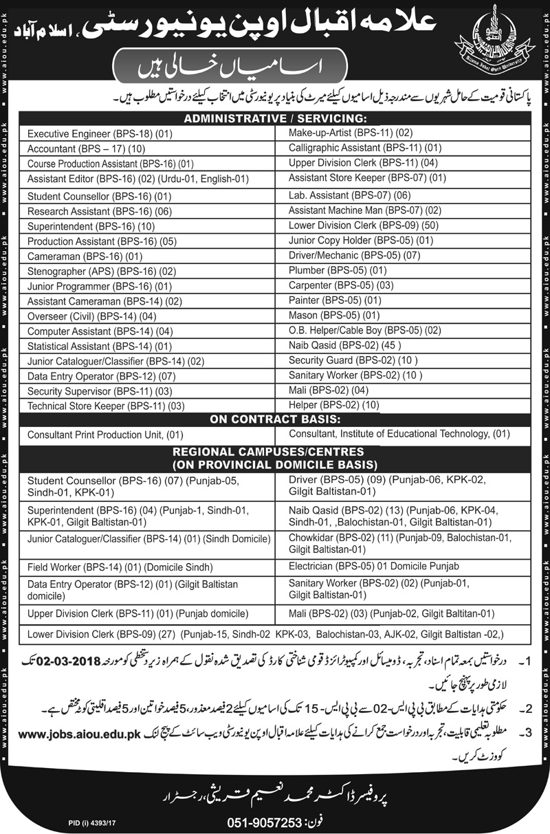 Latest 2018 Jobs in Allama Iqbal Open University AIOU, Today Announced Vacancies