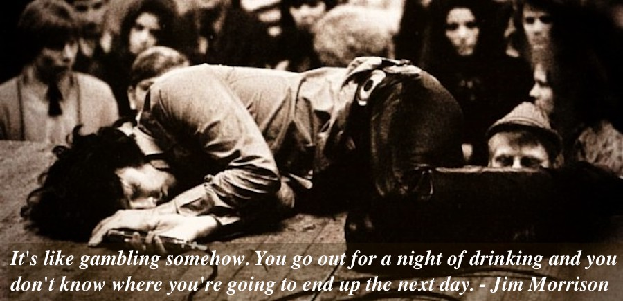 Sept. 15, 1968, Jim Morrison passed out during a concert. Morrison quote about drinking. Mr. Mojo Risin and other stories of Rock, Radio, and Regulations. Marchmatron.com