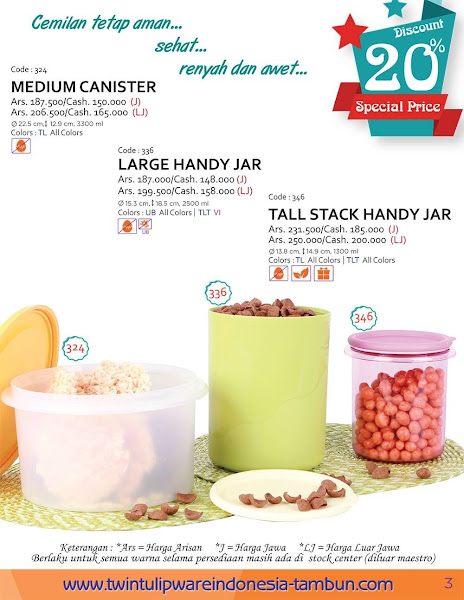 Promo Diskon Tulipware Maret 2016, Medium Canister, Large Handy Jar, Tall SHJ