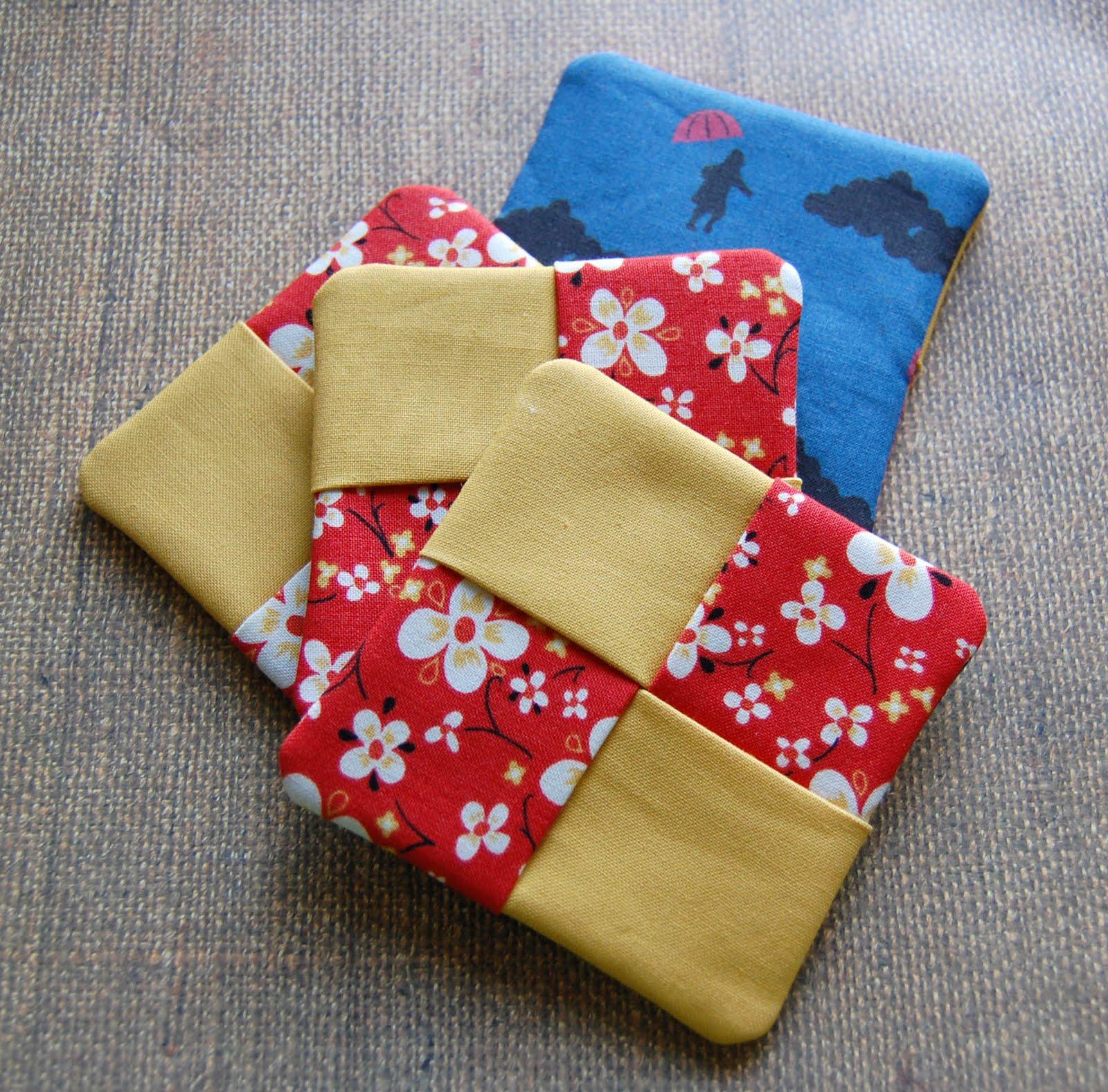 the craftinomicon tutorial fabric coasters. Black Bedroom Furniture Sets. Home Design Ideas