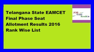 Telangana State EAMCET Final Phase Seat Allotment Results 2016 Rank Wise List