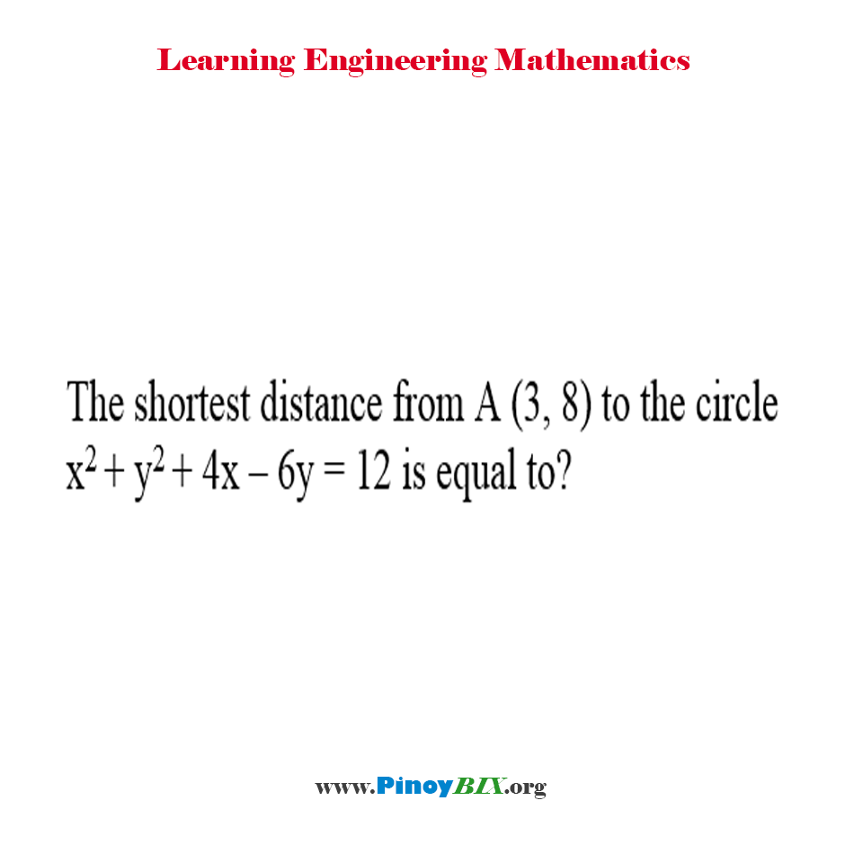 What is the shortest distance from A(3, 8) to the circle x^2 + y^2 + 4x – 6y = 12?