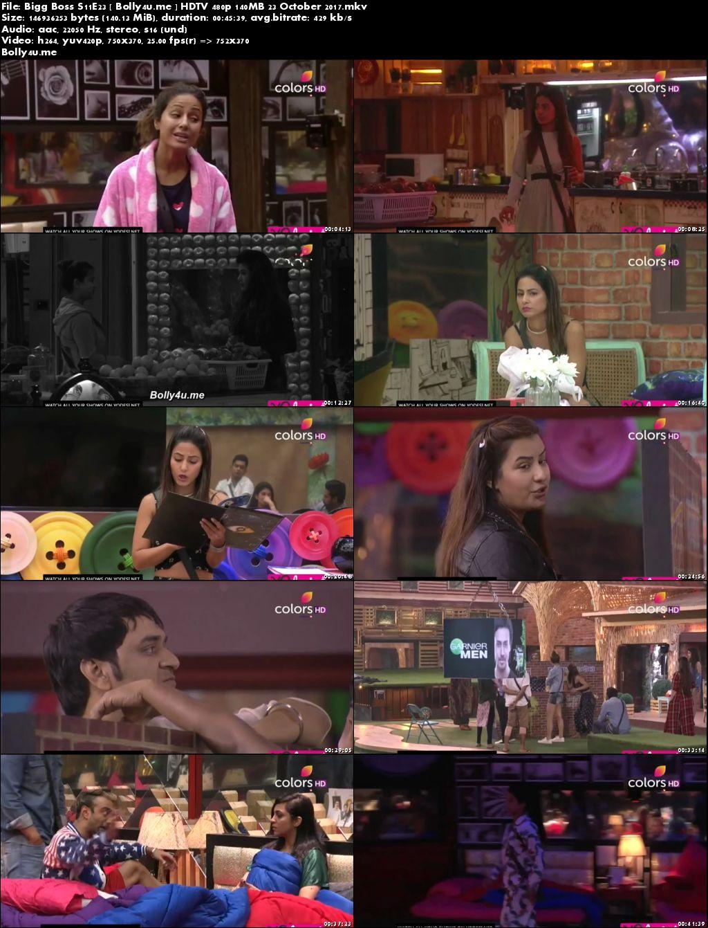 Bigg Boss S11E23 HDTV 480p 140MB 23 Oct 2017 Download